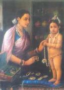 Raja Ravi Varma Yashoda decorating Krishna oil painting picture wholesale